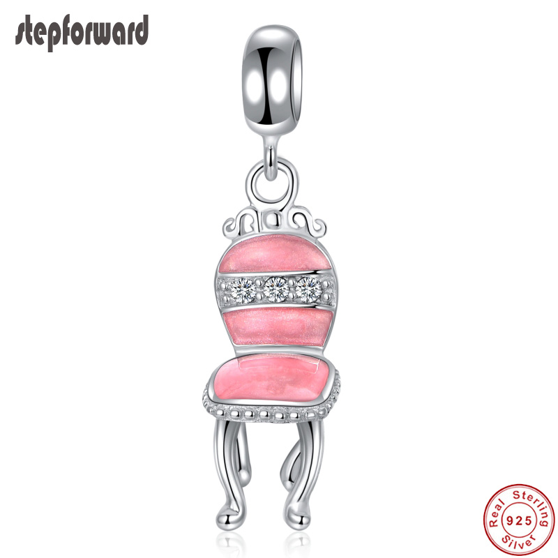 Jewelry & Accessories Silver Chair Hanging Charm For Women Bracelet And Necklace Top Quality Romantic Pink Chair Design Enamel Necklace Pendant And To Have A Long Life.