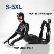 Kadın siyah suni deri Catsuit Seksi Catwoman Kostüm Kedi Cosplay Ayaklı Tulum Gerilebilir 2 Yönlü Fermuar Bodysuit Maskesi