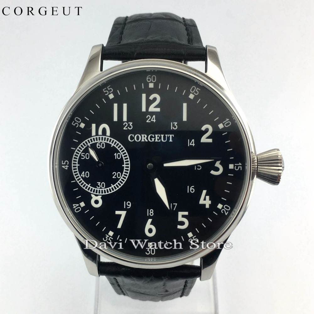 44mm Corgeut S.S Leather Band Black Dial Seagull Hand Winding Movement Mens Watch
