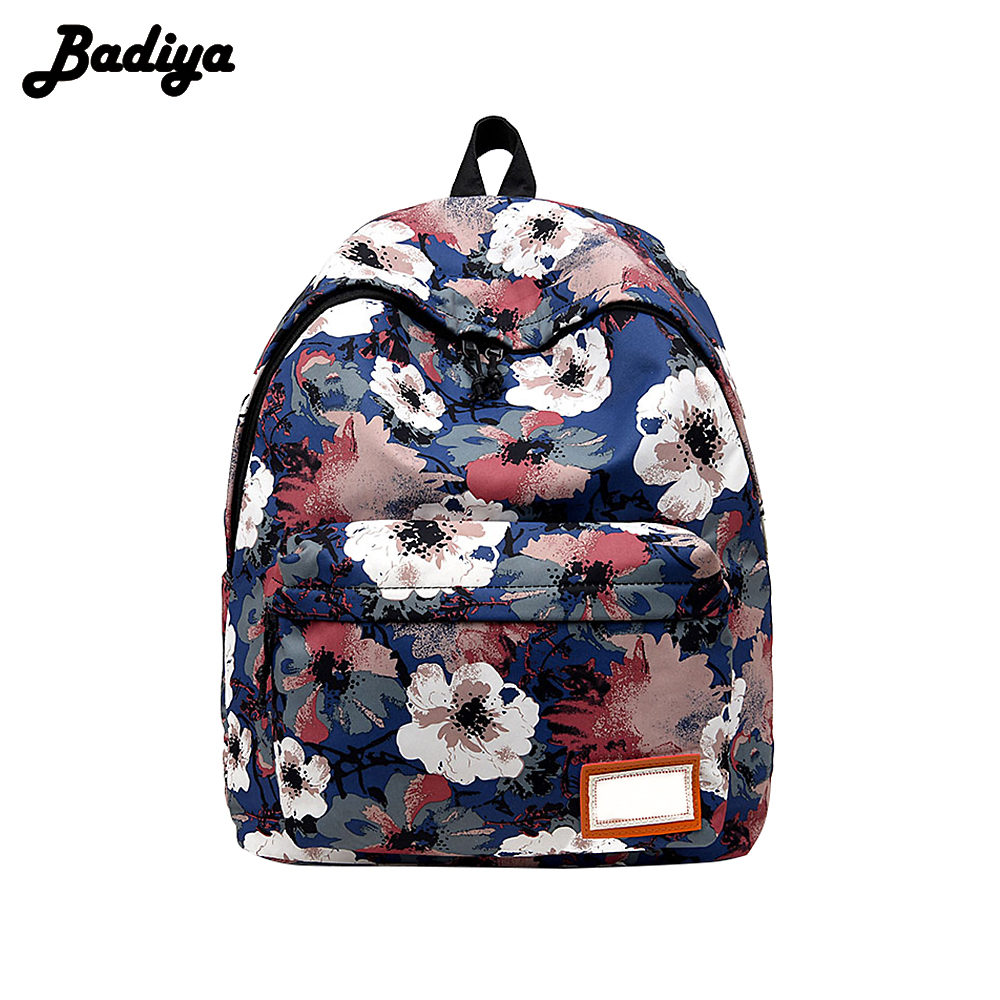 New Design Flower Print Fashion Women Backpacks Zipper Design Floral Girls School Bag Large Capacity Female Ladies Back Pack