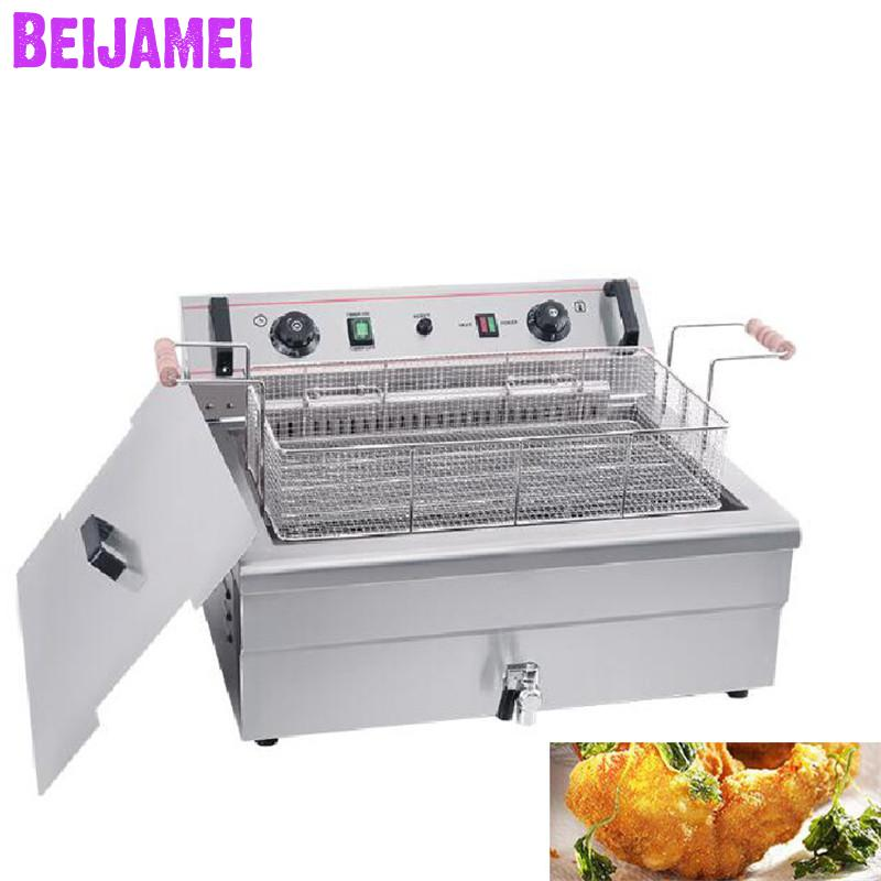 BEIJAMEI Commercial Counter Top Automatic French Chips Frying Machine Fried Chicken Machine Electric Industrial Deep FryerBEIJAMEI Commercial Counter Top Automatic French Chips Frying Machine Fried Chicken Machine Electric Industrial Deep Fryer
