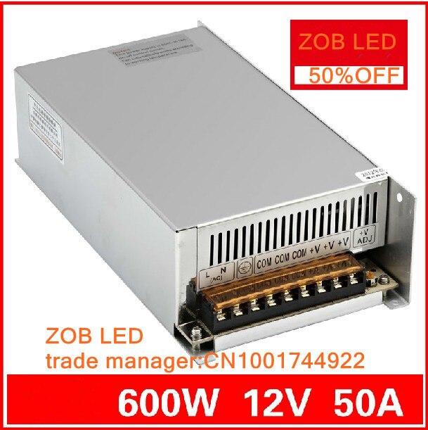 600 W 12 V 50A commutateur de courant LED, 12 V 50A alimentation 12 V sortie, 85-265AC entrée, livraison gratuite