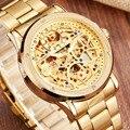 Роскошные мужские механические часы  серебристый  золотой цвет  модные часы из нержавеющей стали с самопередачей  мужские наручные часы с ц...