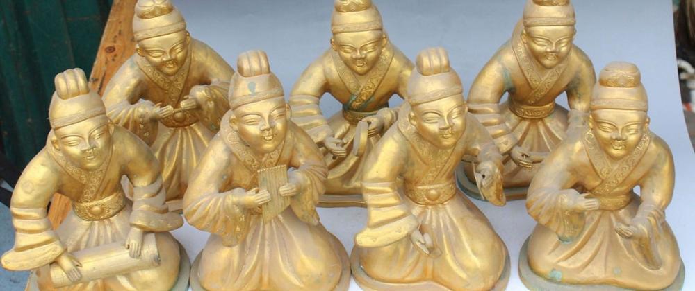 11 Chinese Folk Brons Gild Seat Belle Beauty Muziekinstrumenten Qin Standbeeld Set