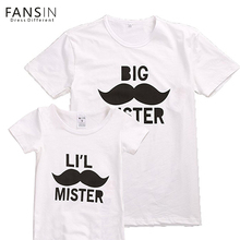 Fansin Brand 2017 Family Matching Outfits Cartoon Mustache Beard Tops T shirts Short Sleeve Father And
