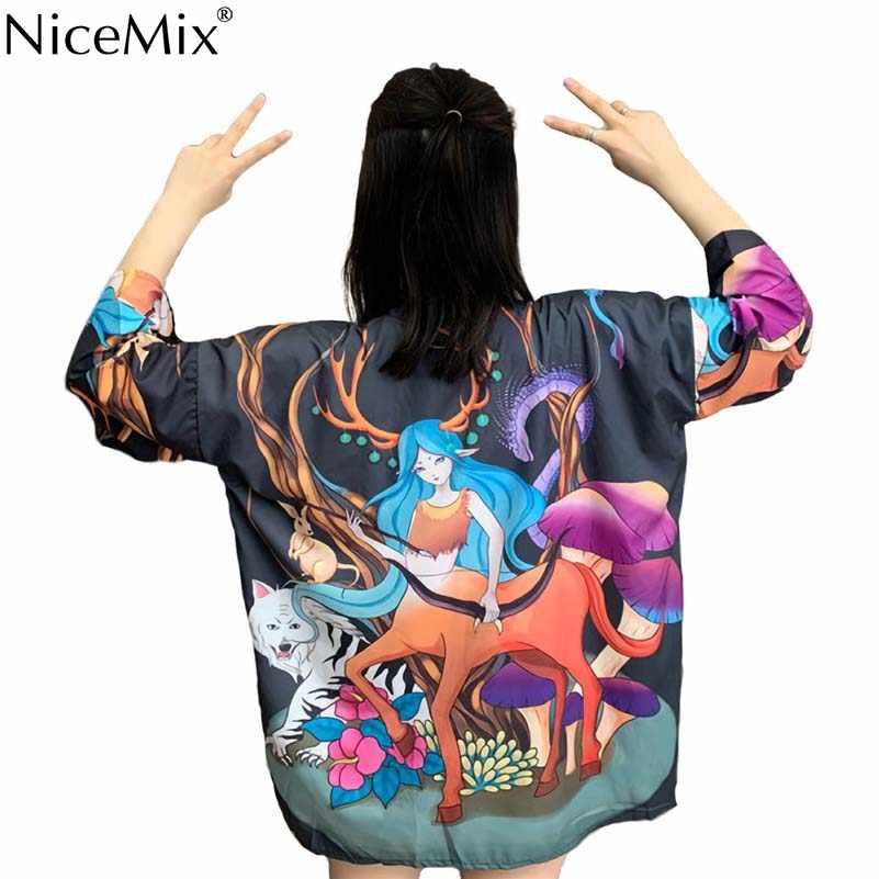 NiceMix 夏ビーチウェア太陽保護着物カーディガン女性と男性ユニセックスブラウスヴィンテージプリントシャツトップス Blusas 日本スタイル