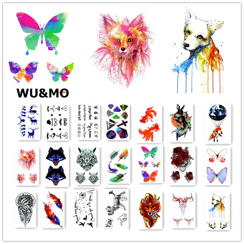 Colorful Butterfly Fox Feather Body Art Sexy Harajuku Waterproof Temporary Tattoo For Man Woman Henna Fake Flash Tattoo Stickers 7