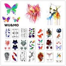 Flor colorida Animales Perros Body Art Sexy Harajuku Impermeable Tatuaje Temporal Para El Hombre Mujer Flash Falso Pegatinas Tatuaje de Henna