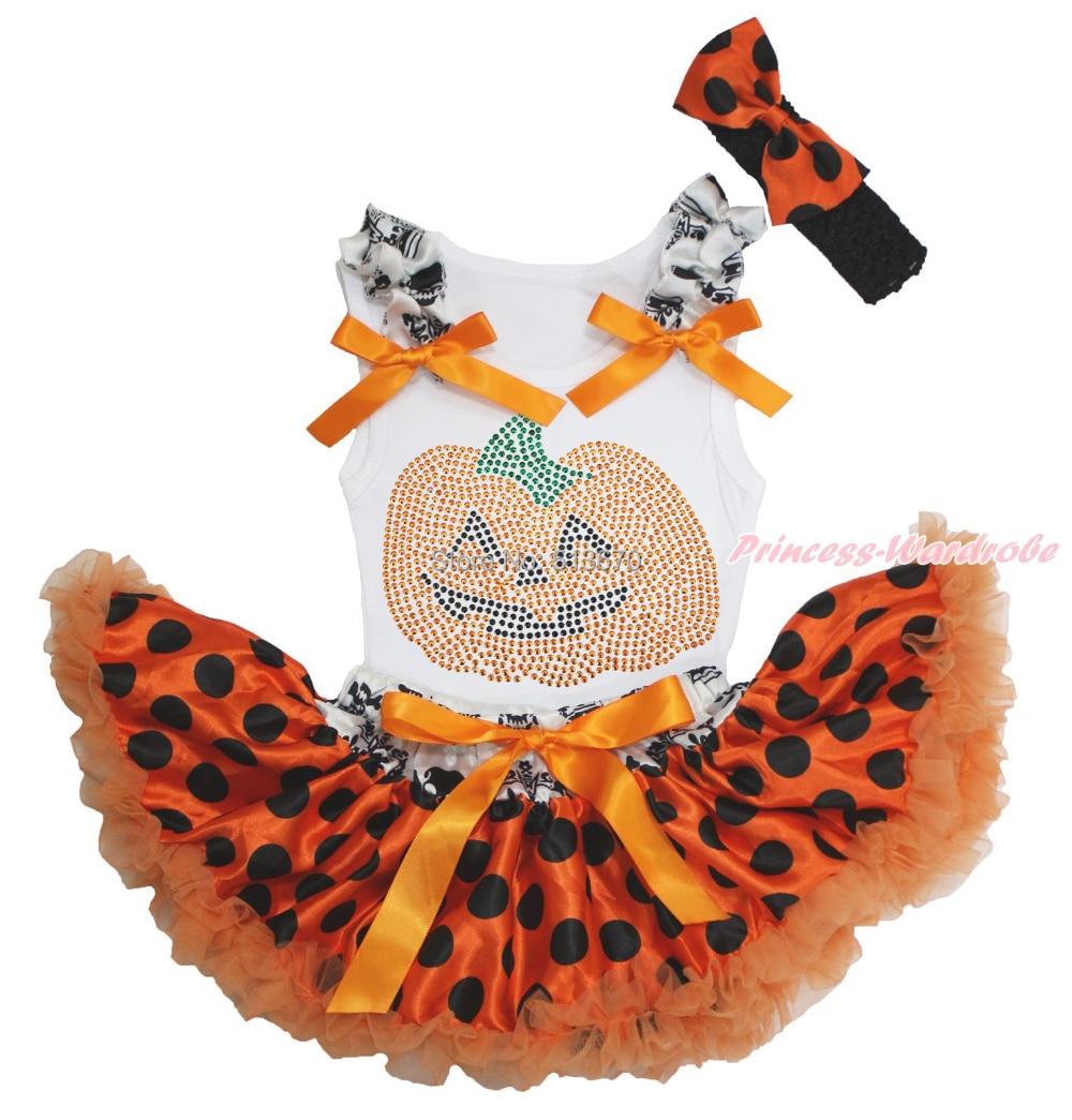 Halloween Rhinestone Pumpkin Print White Top Baby Girl Crown Skull Waist Orange Black Dot Pettiskirt Set 3-12M NG1292 картридж brother lc1220m пурпурный для mfc j430w j825dw dcp j525w черный 300 стр lc1220m