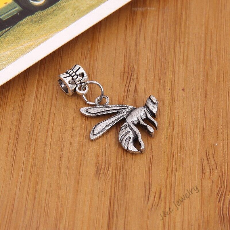 053402e7050a 9 unids grande de plata tibetano de la vendimia Pandora encanto pulsera DIY  abeja encantos para la joyería que hace 2886