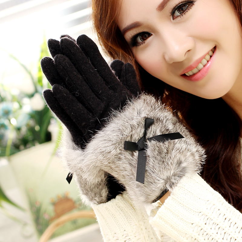 New Ladies Solid Cashmere Gloves Fashion Female Warm Thicken Bow Rabbit Fur Finger Gloves Autumn Winter Elegant Mittens Gloves