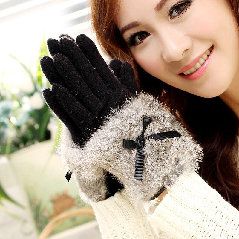 New Ladies Solid Cashmere Gloves Fashion Female Warm Thicken Bow Rabbit Fur Finger Gloves Autumn Winter Elegant Mittens Gloves