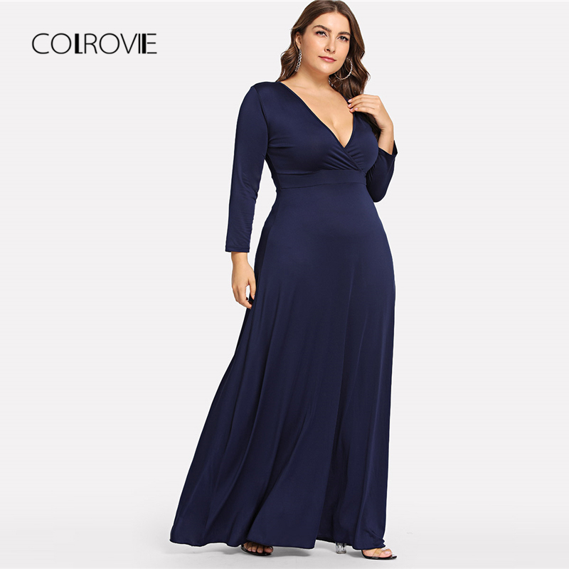 437088cf0f0 COLROVIE Plus Size Navy Solid Deep V Neck Party Dress Women 2018 Autumn  Long Sleeve Elegant Dress Vintage Winter Maxi Dresses -in Dresses from  Women s ...