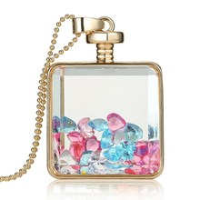 trendy crystal charms inside bottle Jewelry Necklace women Gift free shipping 2016 Fashion memory glass locket pendant necklaces