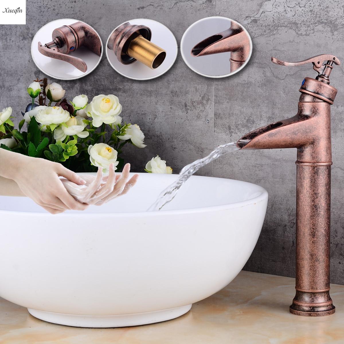 купить European Basin Hot And Cold Faucet Copper Elevated Platform Bathroom Basin Faucet Single Handle Wide Mouth Waterfall Mixer Taps по цене 2855.4 рублей