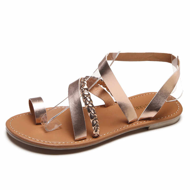 2018 Women Summer Strappy Gladiator Low Flat Heel Flip Flops Beach Sandals  Shoes Woman Sandals Women ae3a2dc7f376