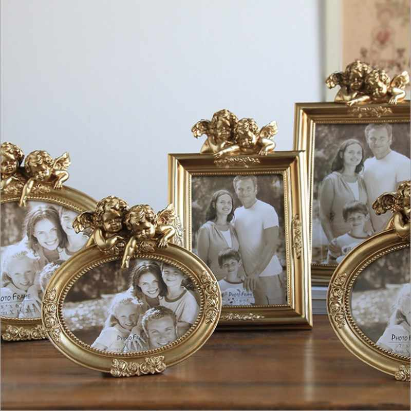 Retro Silver White Resin Photo Frame Set Up Photo Frame Creative Cupid Photo Home Decoration Wedding Picture Frame
