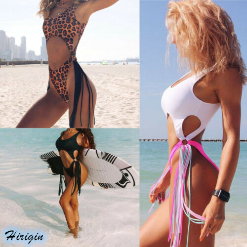 Summer Women Sexy Patchwork One-Piece Swimsuits 2020 New Women Summer Sexy Push-up Patchwork Tassel One-Piece Swimsuit