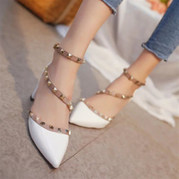 New Fashion Women High Heels Shoes Comfortable Ladies Pointed Toe Party Wedding Footwear Buckle Shoes Female