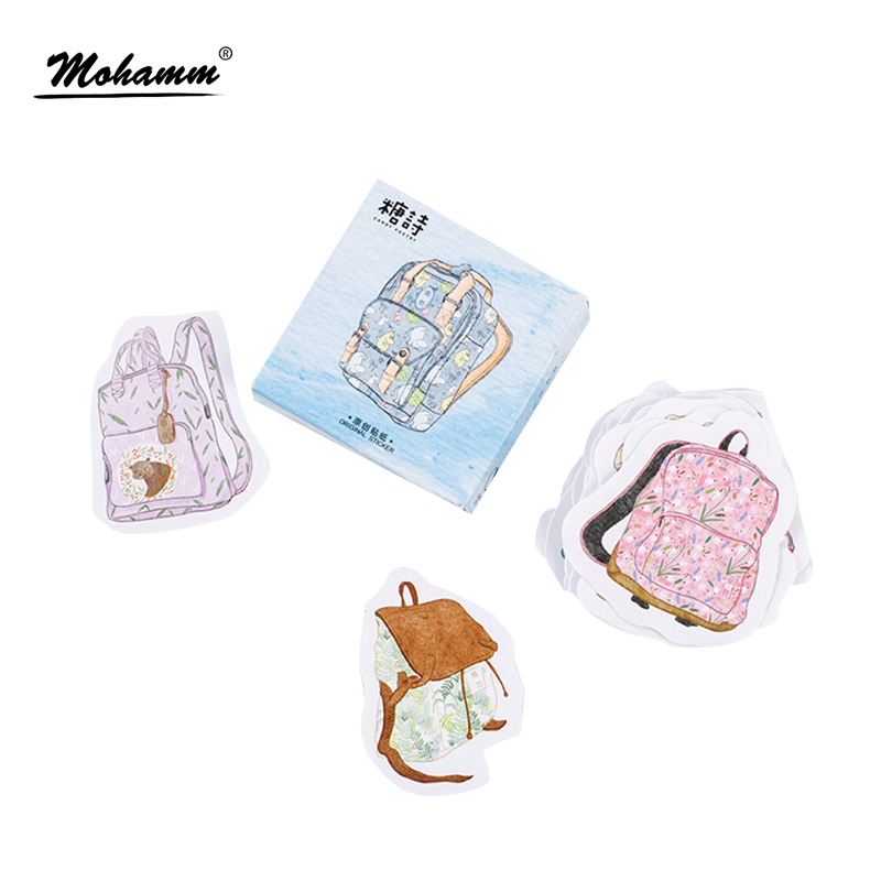 45pcs/lot Creative Cute School Bag Paper Stickers Diy Diary Album Decorative Stickers Flakes Office School Supplies Stationery