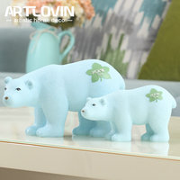 2018 New Arrival Nordic Resin Polar Bear And Dog Statue Animal Figurines Ornaments Modern Home Decoration