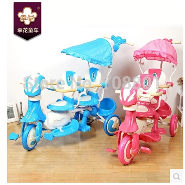 Twins tricycle, double seat trike,three wheel twins baby pedal bike