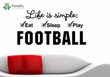 YOYOYU Wall Decal Vinyl Art Spriration Decor Life Is Simple Eat Sleep Play Football Harry Potter Quotes Room Decals ZX005