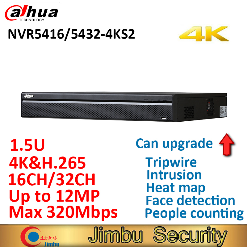 Dahua 4K&H.265 NVR video recorder NVR5416-4KS2 NVR5432-4KS2 16CH 32CH Max 320Mbps tripwire,intrusion,heat map,face detection dahua nvr 4k nvr5416 16p 4ks2 nvr5432 16p 4ks2 psp poe video recorder 16poe ports 16ch 32ch h 265 h 264 people countiing ivs dvr