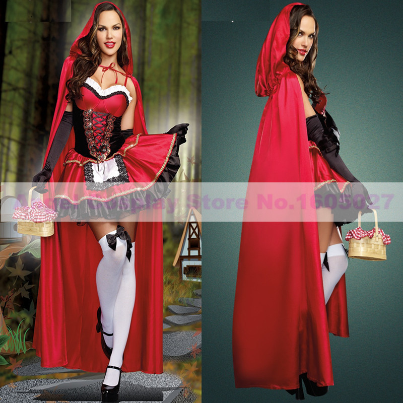 2016 High Quality Little Red Riding Hood Costume Fancy Adult halloween costumes for women full set(Cape+Dress+Armcovers)