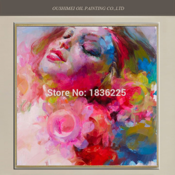 New Hand Painted Modern Impression Oil Painting Wall Decor Sleeping Beauty Face Women Flower Painting On Canvas For Living Room