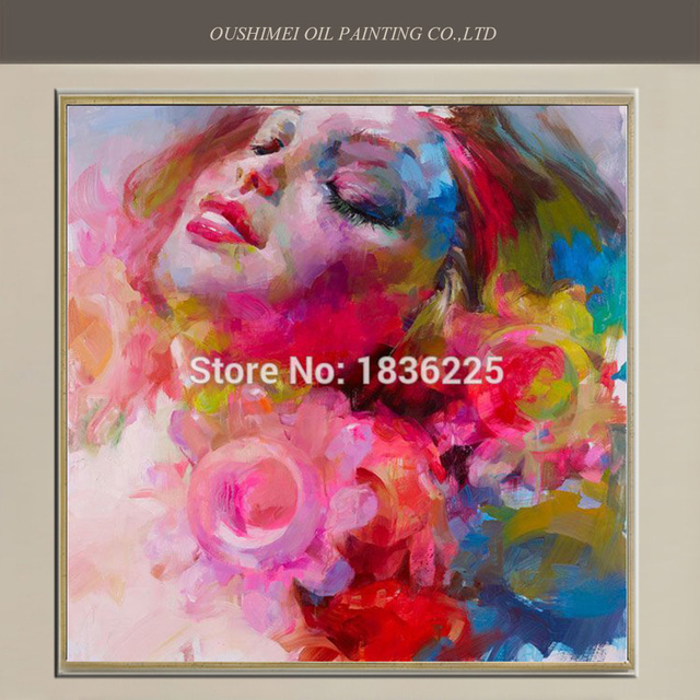 New Hand Painted Modern Impression Oil Painting Wall Decor Sleeping ...