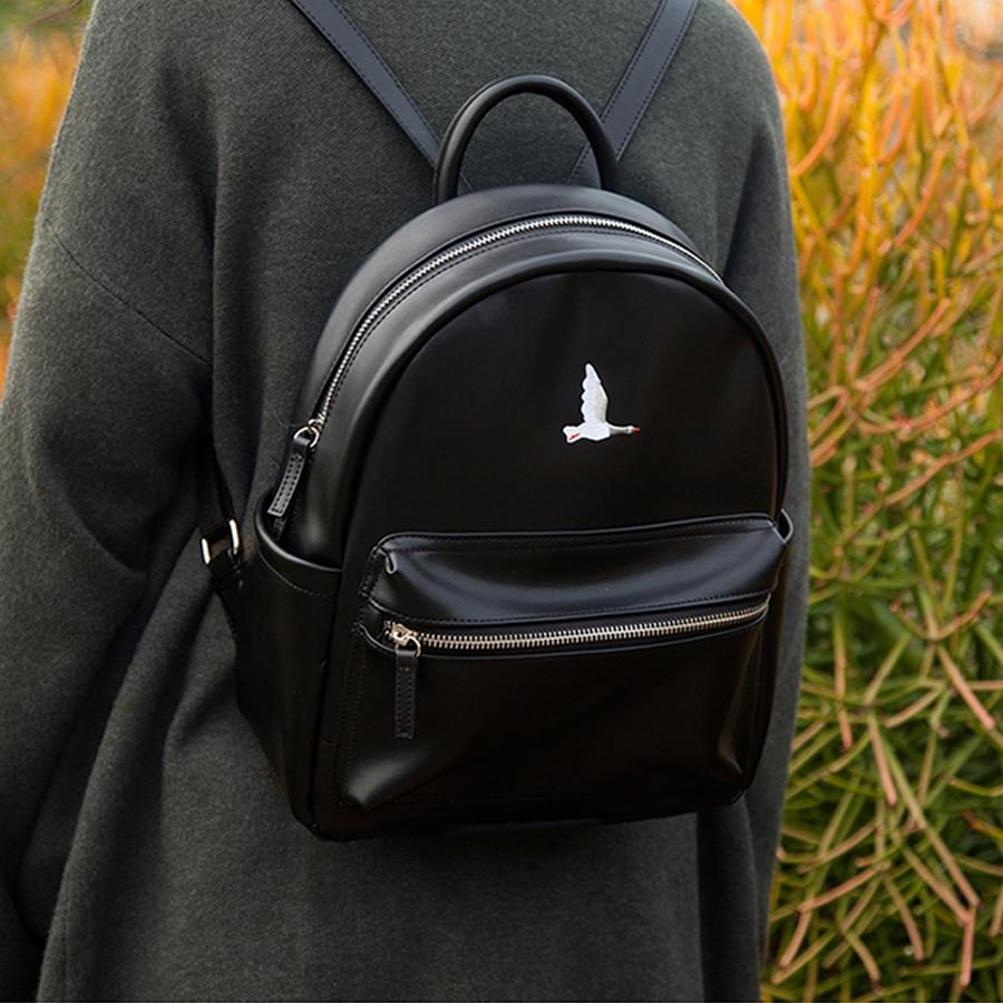 YIZI PU embroidery girls backpacks in birds series-crow/pelican/parrot/wild goose (FUN KIK)