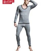 החדש SUPERBODY גברים ג 'ונס הארוך t פנימיות כותנה צועד תרמית זכר ג' ונס ארוך סט 4 צבעים