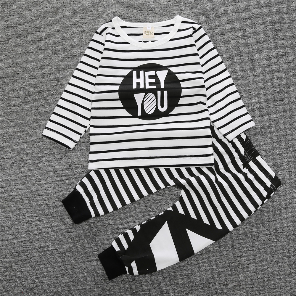 2017-New-Fashion-baby-boy-girl-clothing-set-cotton-letter-long-sleeved-T-shirt-Striped-Pants-Baby-Clothing-Set-SY106-1