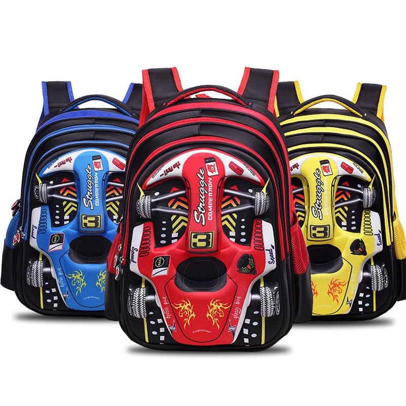 Cartton 3D Racing Car Boy Girl Baby Children Kindergarten Nursery School Bag Bagpack Teenager Schoolbags Kids Student Backpacks