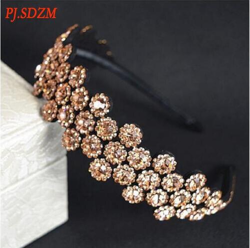 PJ. SDZM 2 teile/los Südkorea Mode Diamant Gleitschutz Haarband Blumen Teure Breit-krempe Braut Headwear