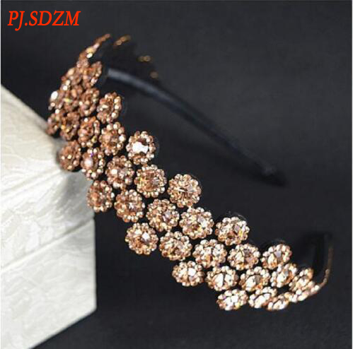 PJ.SDZM 2Pcs/Lot South Korea Fashion Diamond Antiskid Hairband Flowers Costly Wide-brimmed Bride Headwear