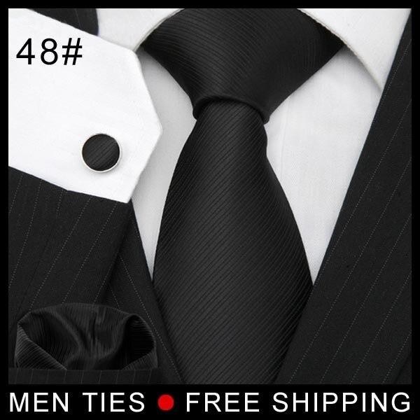 Чистый Цвет Черный Мужчины галстук устанавливает ТКАНИ ИЗ ЖАККАРДОВОГО Досуг Галстук мужской Галстук Запонки + платок Новый