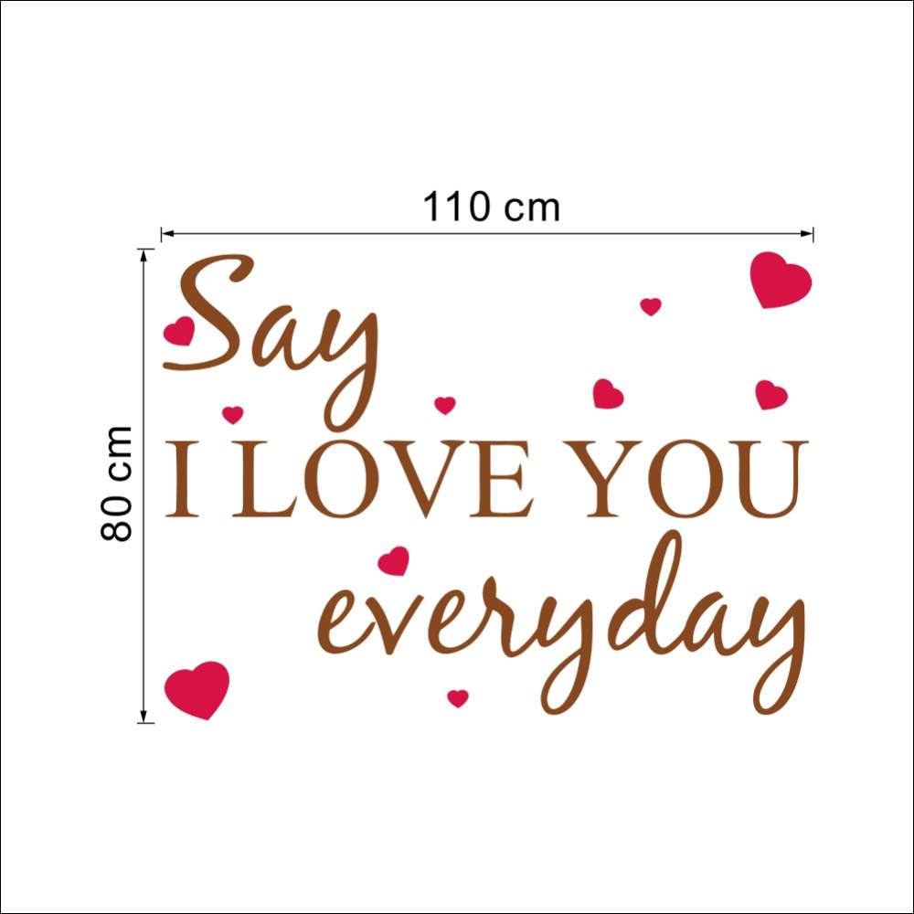 Wall Decal I Love You Everyday Heart Words Large Nice Wall Sticker