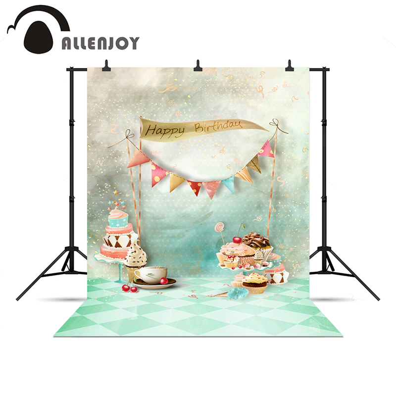 Allenjoy Photo background Happy birthday cakes Bakery shop flags customize DIY professional noel professional camera image