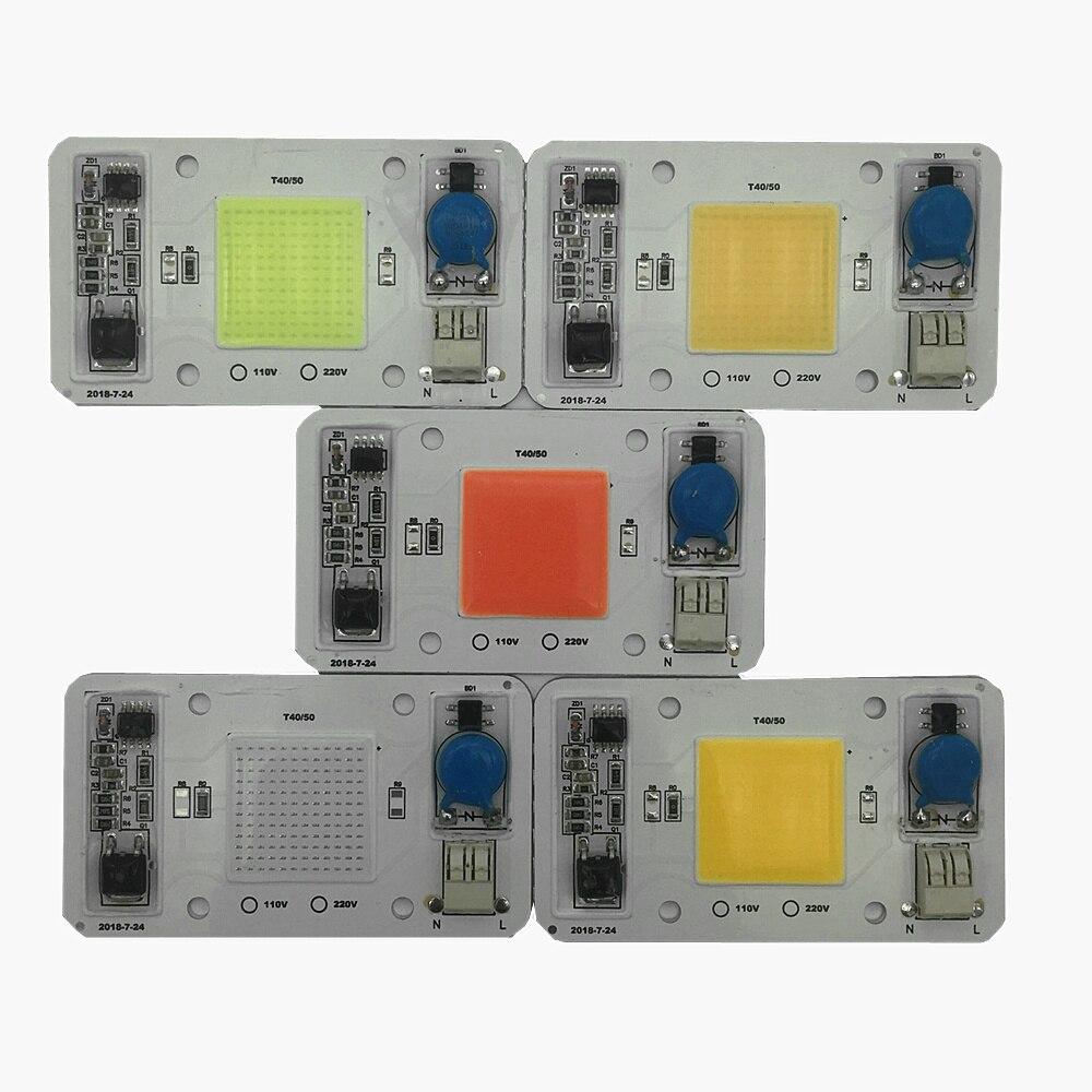 5pcs 50W 110V 220V COB High Power led chip built in driver Full Spectrum Red Green Blue Royal blue Warm white Cool white LED in Light Beads from Lights Lighting