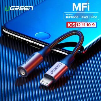 Ugreen MFi Lightning a Jack de 3,5mm AUX Cable para iPhone 7 8 plus XR Xs 3,5mm un rayo 3,5 auriculares divisor Adaptador de Audio