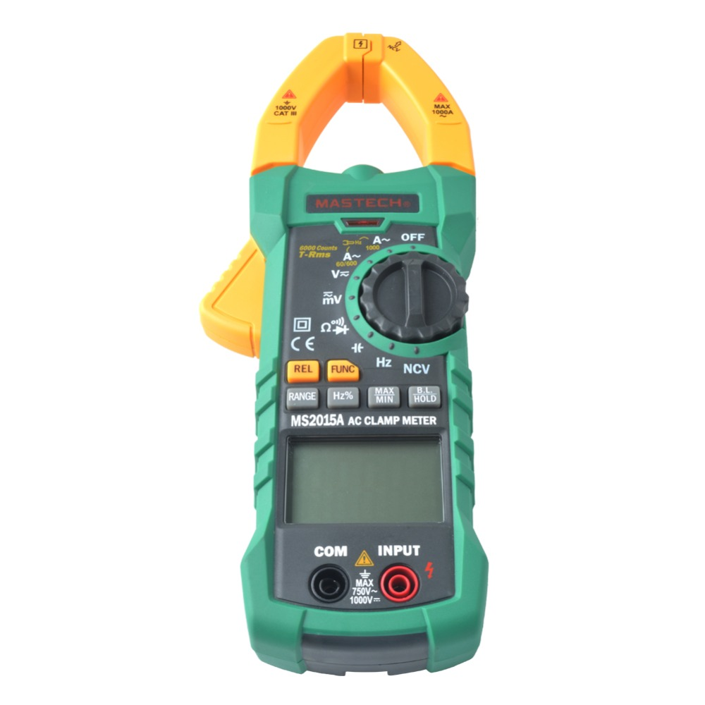 MASTECH MS2015A Non-contact Capacitance Voltage Tester Auto Range Digital AC 1000A Current Clamp Meter True RMS Multimeter mini digital clamp meters ac dc current voltage auto range vfc capacitance non contact multimeter diode uni t ut210e true rms