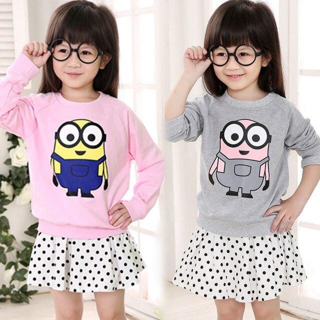 2016 girls boy Korean long sleeve T-shirt cartoon minions baby kid cute tees tops European Style children clothing bobo choses