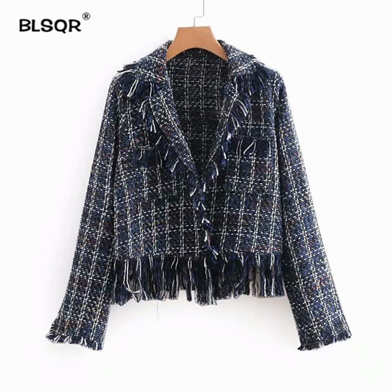 Women Vintage Fringe Tassels Chic Jacket Coat Pockets Long Sleeve Winter Autumn Thick Outerwear Fashion Short Tops