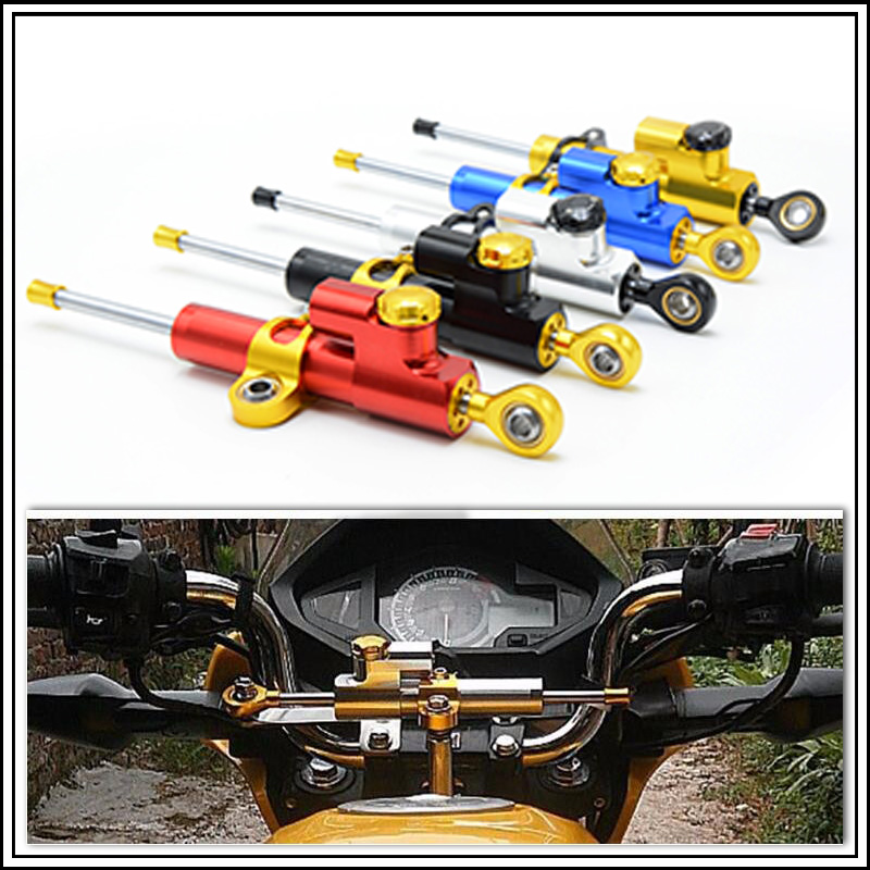 for CNC Damper Steering StabilizerLinear Reversed Safety Control Over for yamaha xvs ninja 250r honda shadow 750 honda steed day cnc reserved safety control steering damper for honda cbr 600rr 900rr 1000rr suzuki bmw s1000rr kawasaki ninja yamaha yzf r1 r6