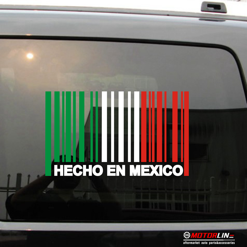 Made In Mexico Hecho En Mexico Flag Barcode Decal Sticker