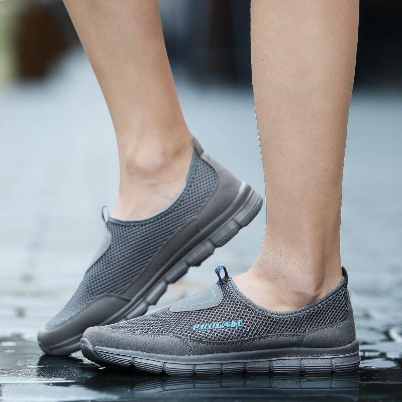 Xizi Мужская обувь 2018 спортивные кроссовки Марка Mesh обувь Высокое качество дышащие кроссовки без шнуровки летние кроссовки для Для мужчин