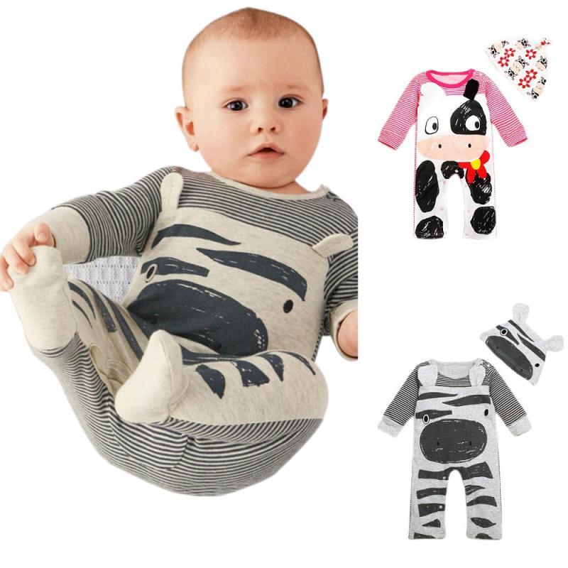 Осень-зима для новорожденных для маленьких мальчиков Одежда для девочек Рождество с длинным рукавом полосатый комбинезон + шляпа комбинезо...