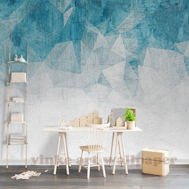 Custom Wall Mural Wallpaper North European Style Simple Hand Painted Abstract Lines Geometric Figure Painting